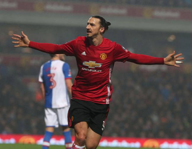 Zlatan Ibrahimovic of Manchester United celebrates scoring their second goal during the Emirates FA Cup Fifth Round match.