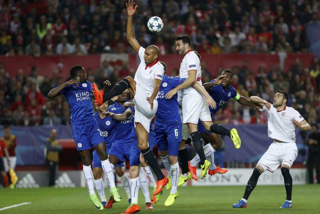 Rami nearly extends Sevilla's lead late on with a driving header.