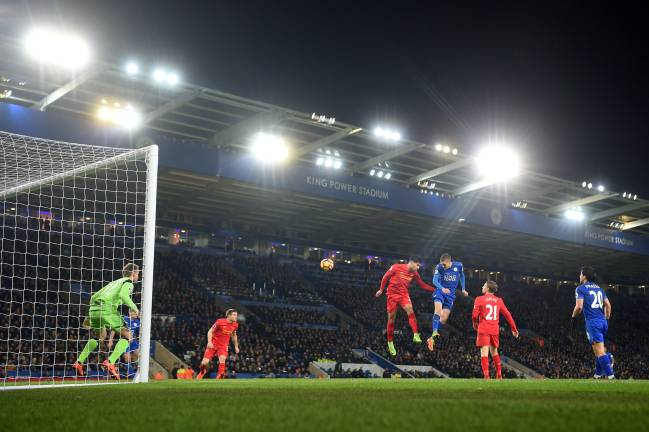 Jamie Vardy of Leicester City scores his second and his sides third goal.
