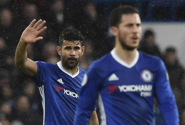 Chelsea's Diego Costa celebrates after scoring against Swansea City during the English Premier League soccer match Chelsea vs Swansea