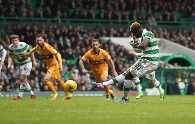 Moussa Dembele of Celtic scores the opening goal from the penalty spot during the Ladbrokes Scottish Premiership match between Celtic and Motherwell