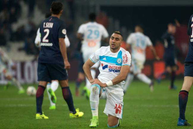 Olympique de Marseille's French forward Dimitri Payet reacts during the French L1 football match Olympique de Marseille vs Paris Saint-Germain