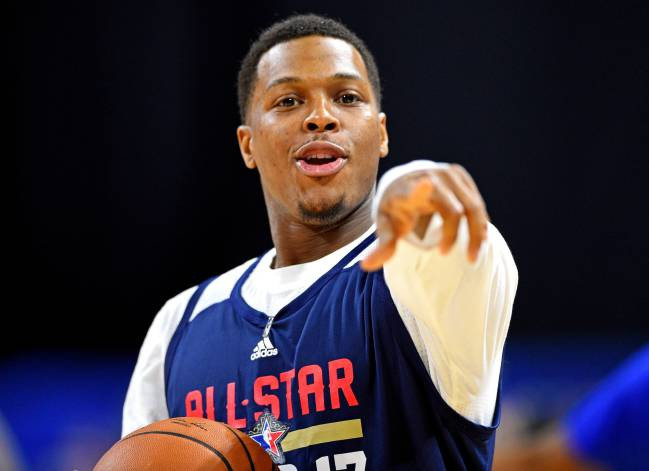 Eastern Conference guard Kyle Lowry of the Toronto Raptors reacts during the NBA All-Star Practice