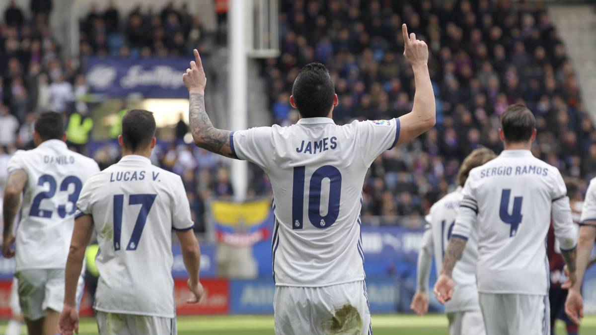 James Rodriguez of Real Madrid celebrates after scoring Real's 3rd goal during the La Liga match between SD Eibar and Real Madrid