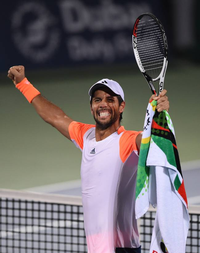 Fernando Verdasco of Spain celebrates winning his semi final match against Robin Haase of Netherlands.