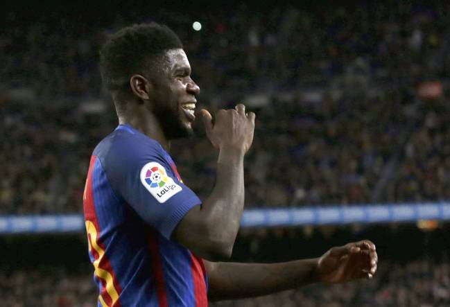 Samuel Umtiti celebrates his first goal for Barcelona.
