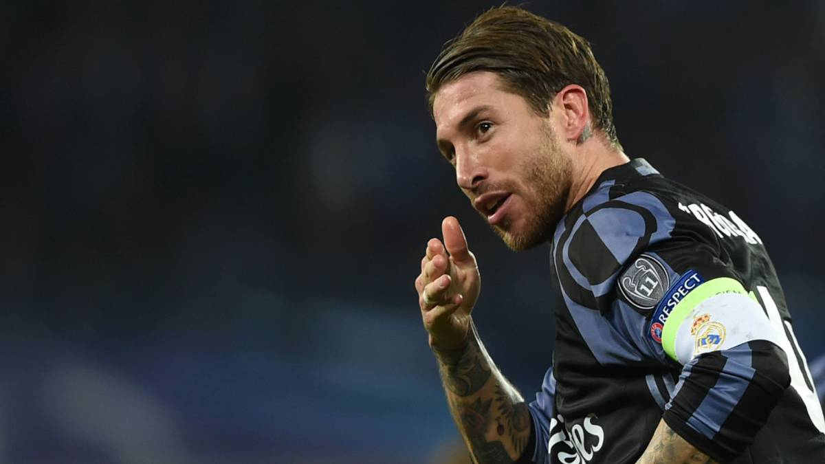 Real Madrid's defender Sergio Ramos celebrates after scoring