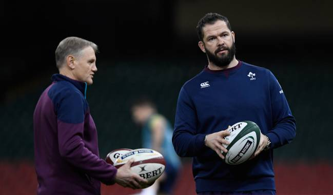 Ireland coach Joe Schmidt with his defence coach Andy Farrell during Ireland captain's run ahead of their RBS Six Nations match against Wales.