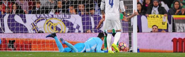Navas slips during Real Madrid v Real Betis
