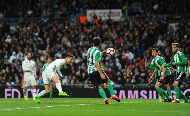 Real Madrid's Ronaldo scores against Real Betis