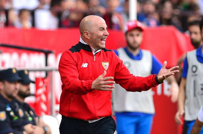 Sevilla's Argentinian coach Jorge Sampaoli gestures on the sideline during the Spanish league footbal match Sevilla FC vs Club Deportivo Leganes