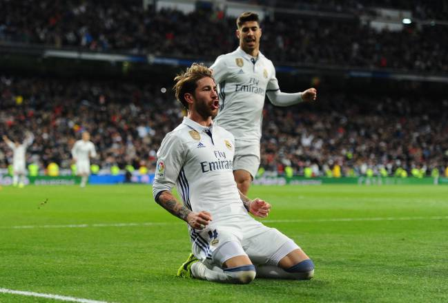 Sergio Ramos celebrates his winner against Betis