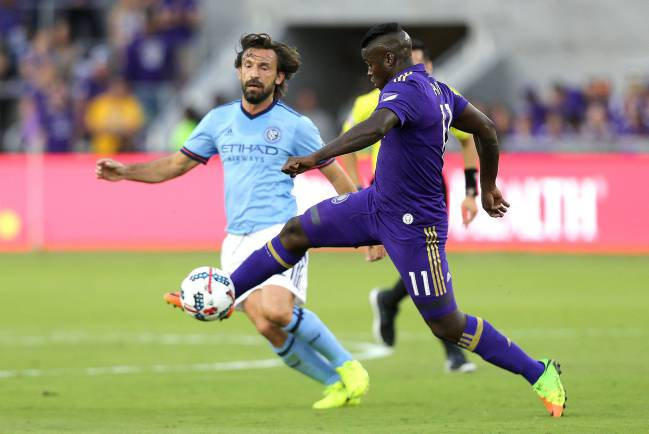 Andrea Pirlo in action these days for New York City FC in the MLS.
