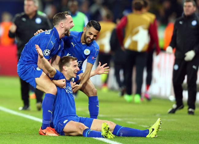 Marc Albrighton celebrates his goal for Leicester against Sevilla at the King Power Stadium.