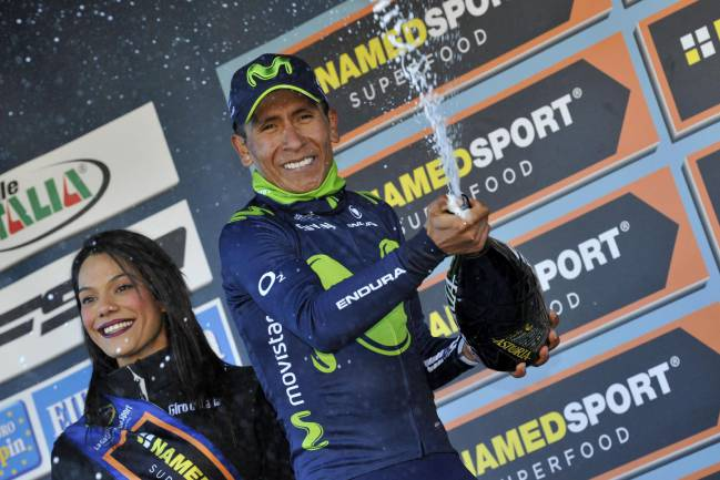 Colombian rider Nairo Quintana of Team Movistar celebrates.