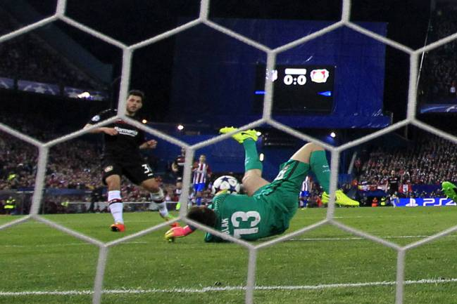 Jan Oblak saves from Kevn Volland's effort.