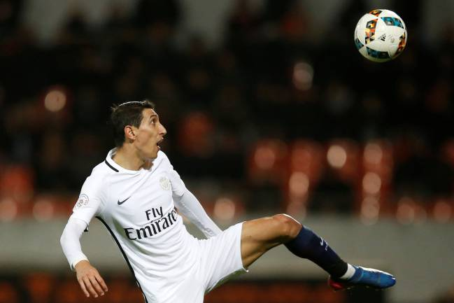Paris St Germain's Angel Di Maria in action