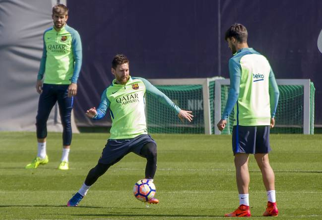 Leo Messi in this morning's session