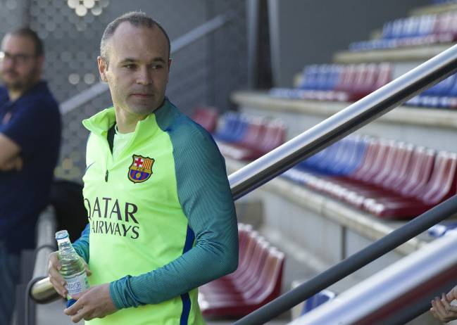 Andrés Iniesta in today's training session