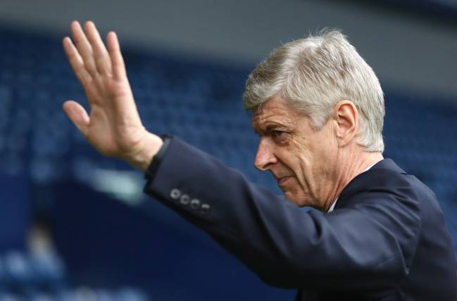 Arsene Wenger manager of Arsenal waves as he arrives prior to the Premier League match between West Bromwich Albion and Arsenal