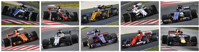 Mercedes, Haas, Renault, Williams, Sauber, (bottom row L-R) Mclaren, Force India, Toro Rosso, Ferrari and Red Bull.