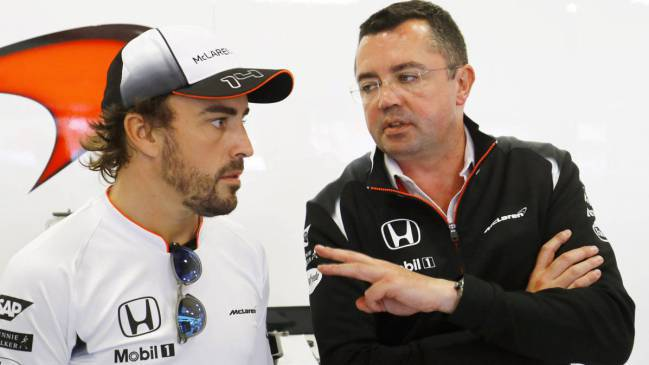 McLaren's Fernando Alonso and Eric Boullier