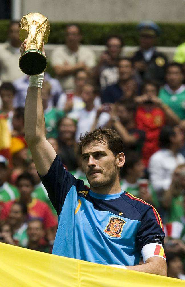 Spain's Iker Casillas holds the FIFA World Cup