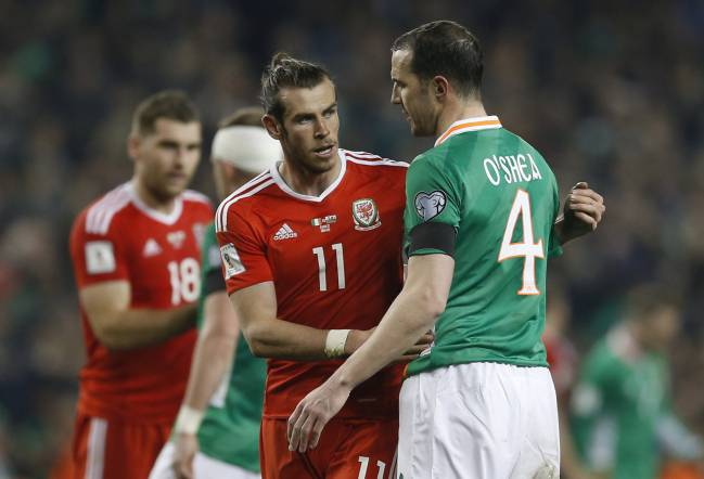Wales' Gareth Bale and Republic of Ireland's John O'Shea after the match.