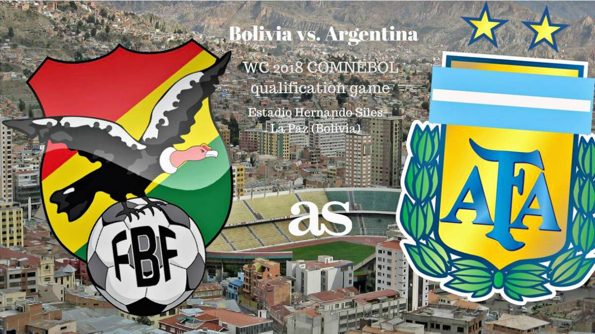 All the information you need on where and when to watch Bolivia v Argentina, World Cup 2018 qualifying game (COMNEBOL) at Estadio Hernando Siles (La Paz) on Tuesday March 28, 2017, kick-off 22:00 CET.