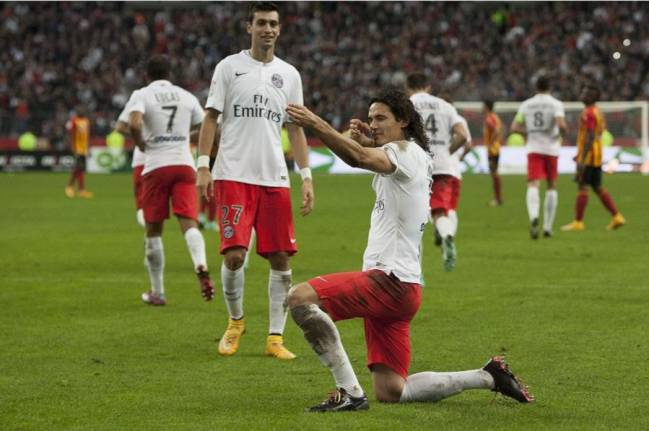 Edison Cavani was booked for this non-corner flag shooting celebration.