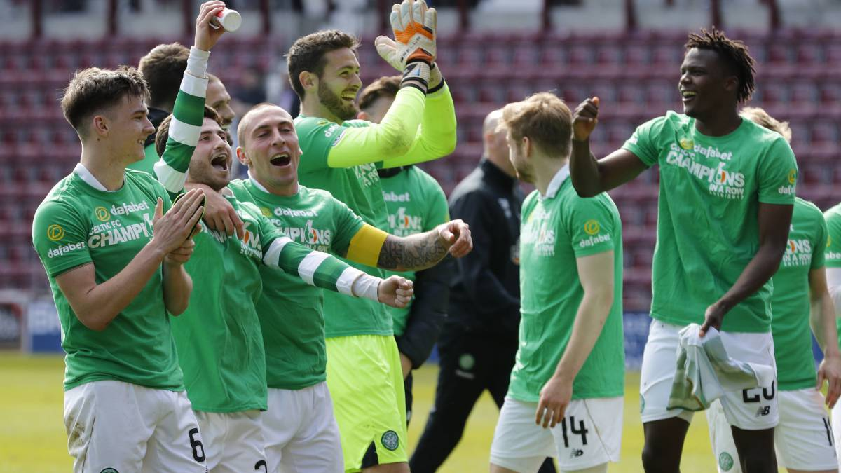 Celtic claim sixth consecutive SPL crown in Hearts demolition