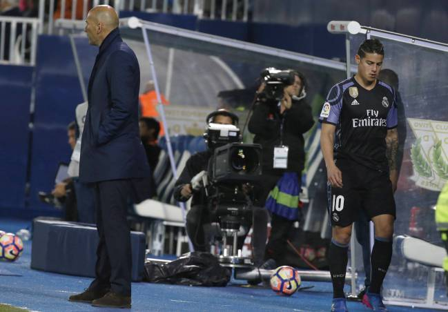 The Colombian was Zidane's first substitution as Real Madrid beat Leganés 2-4, yet he was unimpressed by the coach's decision to replace him with Isco