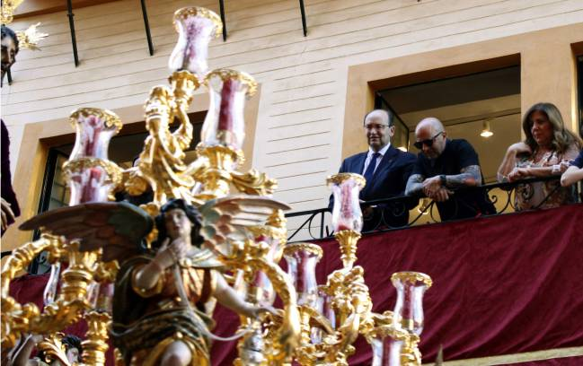 Jorge Sampaoli pictured during the Easter processions in Seville.