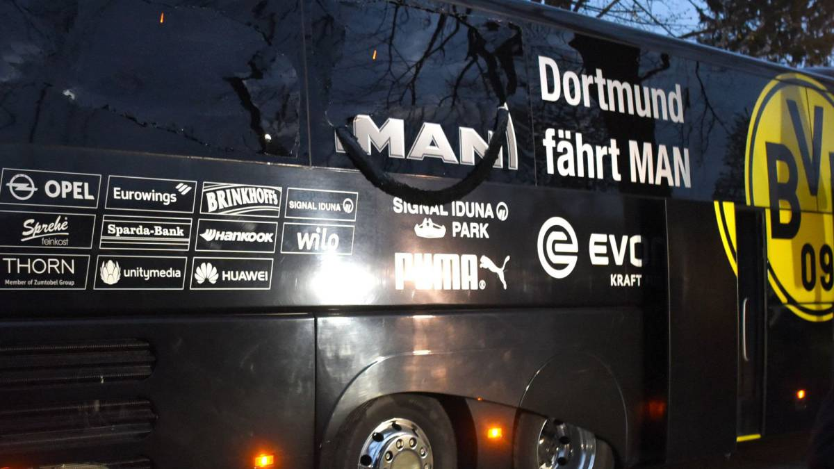 Borussia Dortmund's damaged bus is pictured after an explosion