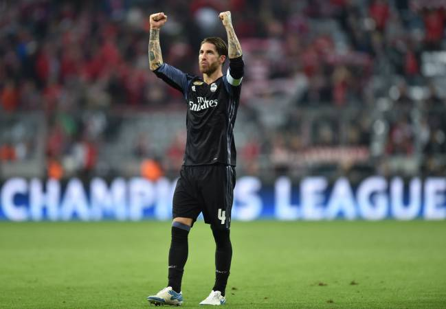 Sergio Ramos on the final whistle after last night's win over Bayern Munich