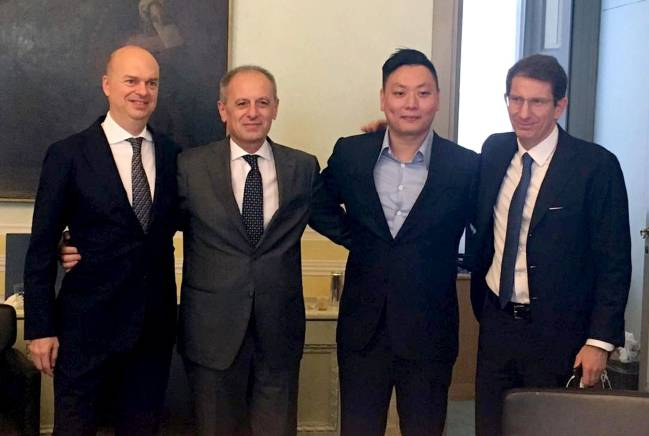 David Han Li (2nd from right), Danilo Pellegrino (right), Marco Fassone (left) part of the new team at AC Milan.