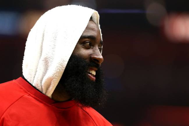 James Harden of the Houston Rockets looks on during the first half of a game against the LA Clippers