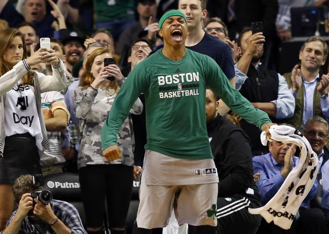 Boston Celtics guard Isaiah Thomas celebrates in the final moments of the Boston Celtics 112-94 win over the Milwaukee Bucks