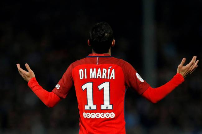 Paris St Germain's Angel Di Maria celebrates after scoring.