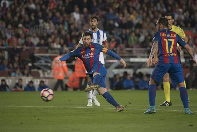 Messi was on target twice against Real Sociedad last night