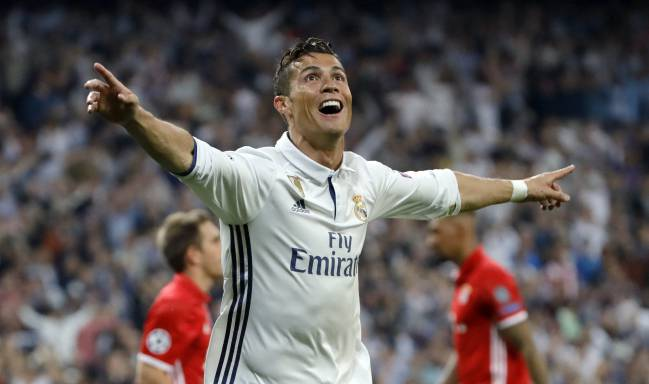 Cristiano Ronaldo, a hat trick against Bayern to put Madrid through to the semis.