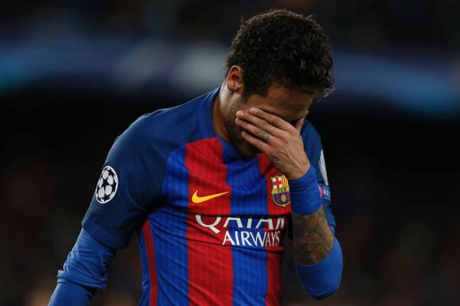 Neymar in tears at the end of the Barcelona - Juventus match