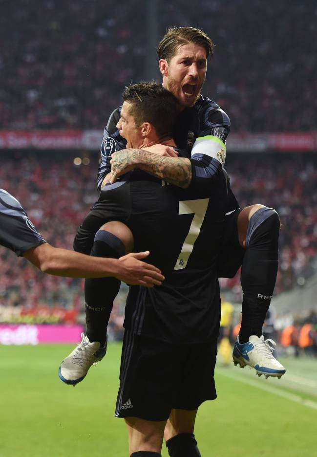 Real Madrid's Portuguese striker Cristiano Ronaldo and defender Sergio Ramos celebrate after the second goal against Bayern Munich.