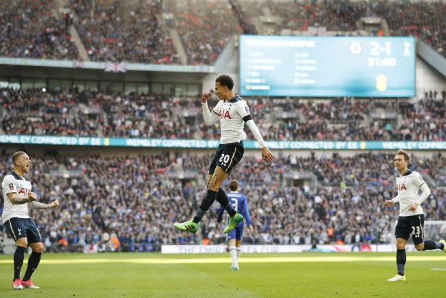 Chelsea seal their place in the FA Cup final, as goals from Willian (2), Hazard, and Matic secure a 4-2 win over Tottenham. Kane and Alli twice equalised.