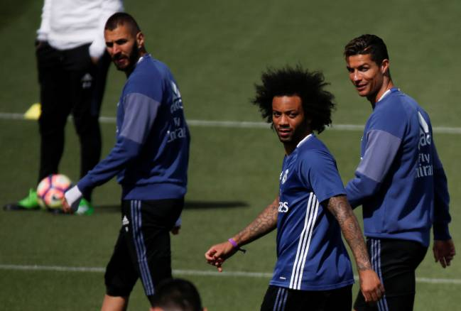 Benzema, Marcelo and Cristiano Ronaldo in Valdebebas today