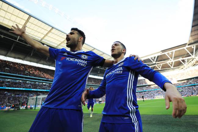 Hazard and Diego Costa celebrate during last week's FA Cup semi-final against Tottenham.