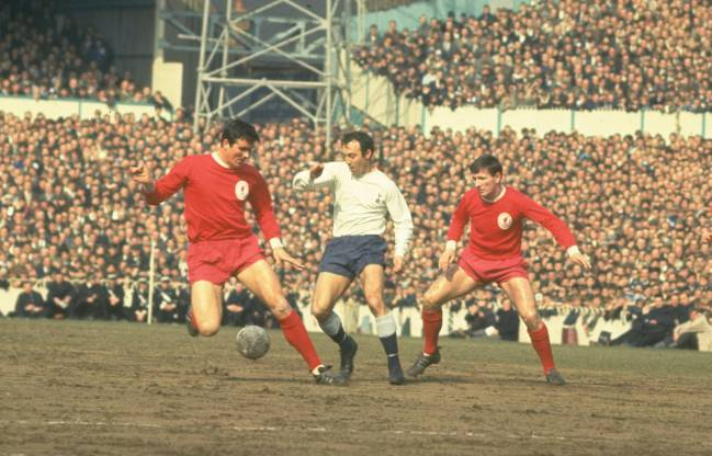 Liverpool's Ron Yeats and Tommy Smith try to keep Jimmy Greaves at bay at White Hart Lane, 1965.