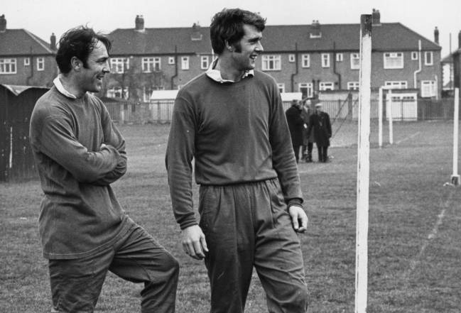 Jimmy Greaves and Geoff Hurst on the training ground.