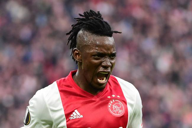 Ajax forward Bertrand Traore reacts after fourth goal during UEFA Europa League semi-final, first leg, Ajax Amsterdam v Olympique Lyonnais.