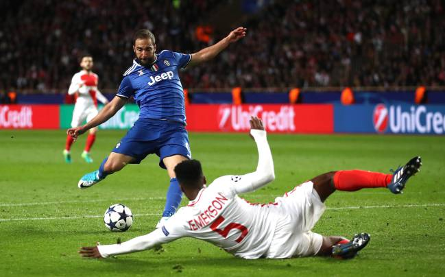 Gonzalo Higuain opens the scoring for Juventus in the UEFA Champions League semi-final first leg match against AS Monaco.